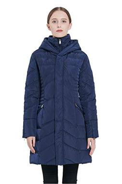 Orolay Women's Thickened Coat Puffer Down Jacket Navy L