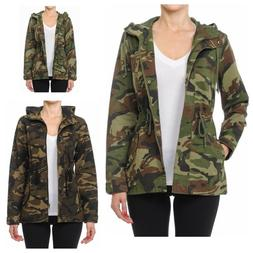 Women's Utility Anorak Military Camo Drawstring  Hooded Jack