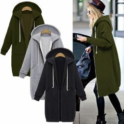 Women's Warm Hoodie Hooded Long Jacket Zipper Sweatshirt Coa