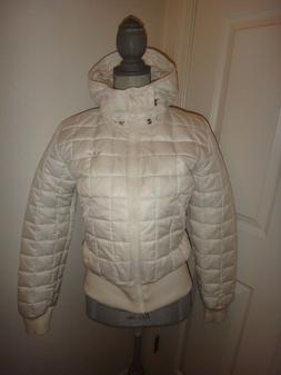 adidas Women's White Bomber Jacket Quilted Puffer with Remov