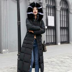 Women's Winter Hooded Down Warm Jacket Long Quilted Coat Puf