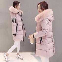 Women's Winter Hooded Jacket Slim Long Fur  Collar Thicken W