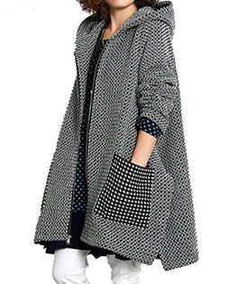 OLRAIN Women's Winter Jacket Checked Hooded Parka Coats With