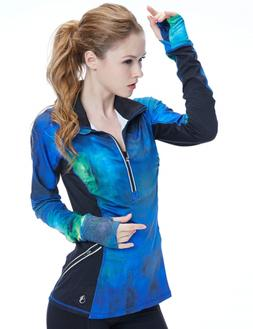 icyzone Women's Workout Yoga Track Jacket 1/2 Zip Long Sleev