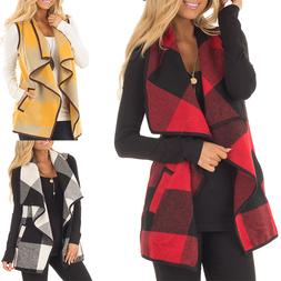 Women Vest Plaid Sleeveless Lapel Open Front Cardigan Sherpa