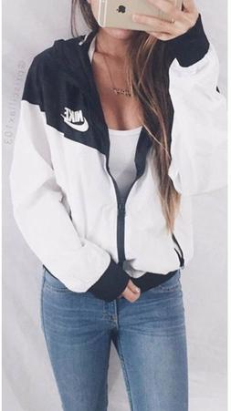 Nike Women Windrunner Windbreaker Black & White Sport Hooded