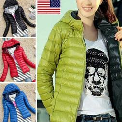 Women's Quilted Padded Puffer Bubble Hooded Zip Lightweight