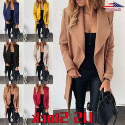 Women Winter Warm Wool Lapel Trench Parka Coat Jacket Long O