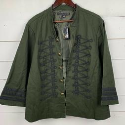 Torrid Womens 6X Green Military Jacket Open Front Blazer Bla