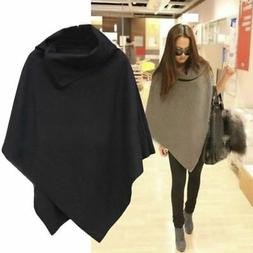 Womens Batwing Cape Shawl Wool Poncho Jacket Ladies Collared