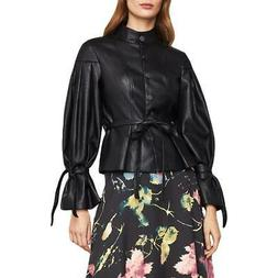 BCBG Max Azria Womens Black Faux Leather Pleated Jacket Coat