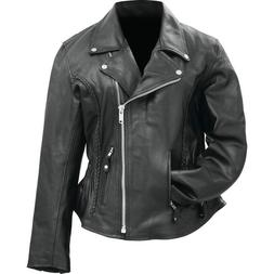 Womens Black Solid Genuine Buffalo Leather MOTORCYCLE JACKET
