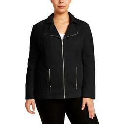 Alfani Womens Black Textured Knit Motorcycle Jacket Outerwea