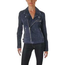 Blank NYC Womens Blue Fall Leather Coat Motorcycle Jacket Ou