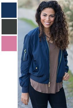 womens bomber jacket classic zip up biker