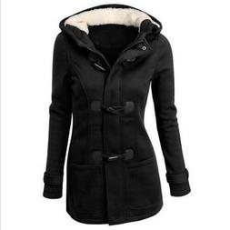 Womens Buckle Trench Coats Wool Blended Fleece Classic Pea C