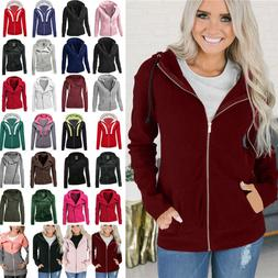 Womens Casual Hoody Hoodie Hooded Sweatshirt Coat Jacket Zip