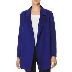 Theory Womens Clairene Blue Wool Open Front Pea Coat Jacket