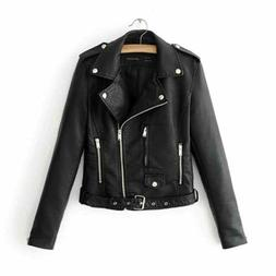 Womens Coat Casual Faux Leather Jackets Lapel Short Parka Mo