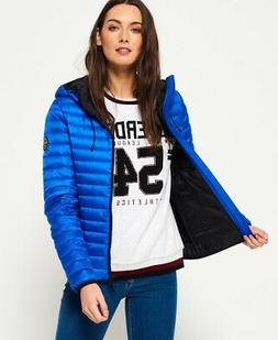 Womens Superdry Core Down Hooded Jacket Cobalt