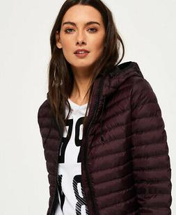 Womens Superdry Core Down Hooded Jacket Deep Plum