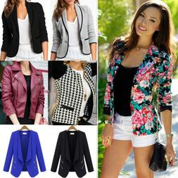 Womens Crop Short OL Jacket Tops Coat Slim Fit Casual Long S