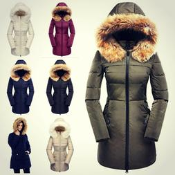 Womens Down Coat With Fur Hood Removable Parka Puffer Fitted