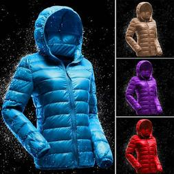 Womens Down Jacket Warm Puffer Coat Duck Goose Hoodie Thin U