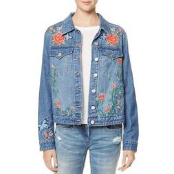 Blank NYC Womens Embroidered Floral Jean Denim Jacket Coat B