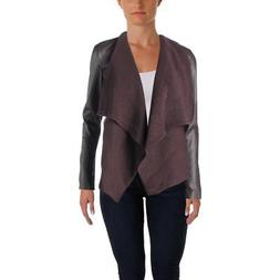 Bar III Womens Fall Faux Leather Coat Motorcycle Jacket Oute