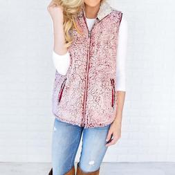 Womens Fashion Flannel Vest Warm Outwear Casual Faux Fur Zip