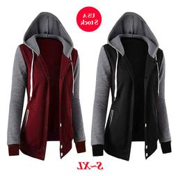 Womens Fashion Long Sleeves Hoodies Zipper Hooded Jacket Top