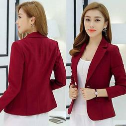Womens Fashion Slim Solid Suit Blazer Jacket Coat Casual One