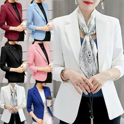 Womens Fashion Slim Suit Blazer Jacket Coat Casual One Butto