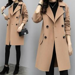 Womens Lapel Collar Wool Blend Breasted Trench Coat Windbrea