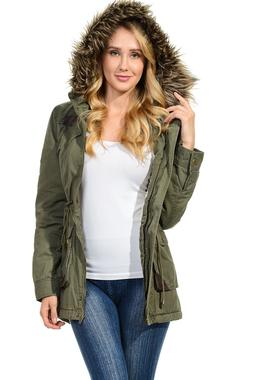 Womens Faux Fur Hoodie Sherpa Lined Military Safari Utility