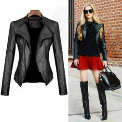 Womens Faux Leather Biker Motorcycle Jacket Slim Punk Casual