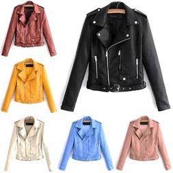 Womens Faux Leather Motocycle Jackets Coat Casual Lapel Shor