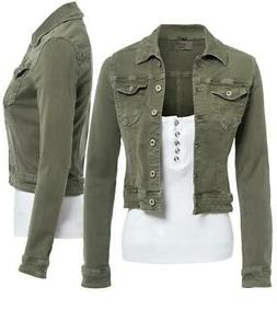 Womens Fitted Denim Jacket Ladies Stretch Khaki Jean Jackets