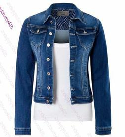 Womens Fitted Denim Jacket Stretch Indigo Blue Jean Jackets
