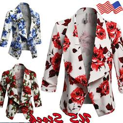 Womens Floral Blazer Suit Casual Jacket Coat Long Sleeve Sli