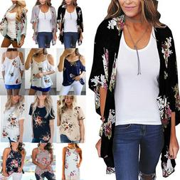Womens Floral Chiffon Shawl Kimono Cardigan Top Beach Cover