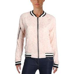 Sanctuary Womens Floral Print Long Sleeve Zip-Up Bomber Jack