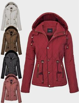 Womens Fur Lined Lightweight Zip Up Quilted Jacket with Deta