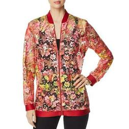 T Tahari Womens Gale Orange Lace Floral Print Sheer Jacket X