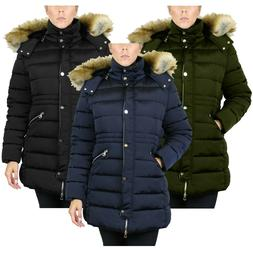 Womens Heavyweight Parka Jacket W/ Detachable Fleece-Lined F