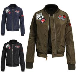 NE PEOPLE Womens High Quality Classic Quilted Bomber Jacket