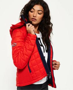 Womens Superdry Hooded Box Quilt Fuji Jacket Sport Code Red
