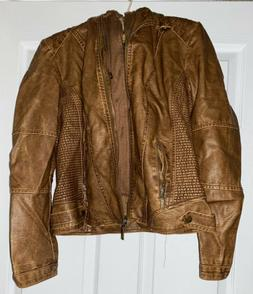 Lock and Love Womens Hooded Faux Leather Jacket Brown Medium