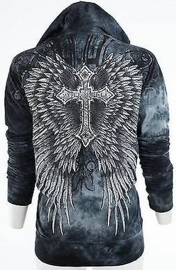 AFFLICTION Womens Hoodie Sweatshirt ZIP UP Jacket SACRIFICE